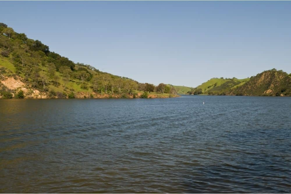 Scenic view of Lake Del Valle, which offers great fishing for trout, bass and more.