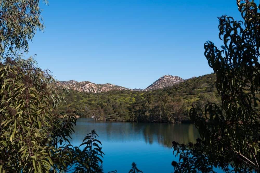 Scenic photo of Lake Jennings, a good fishing lake in Southern California.