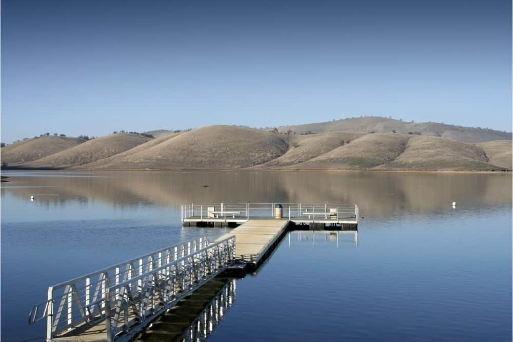 Fishing pier jutting into Los Vaqueros Reservoir, a great fishing lake east of the Bay Area.