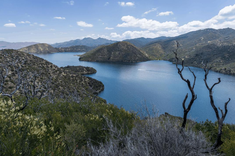 Scenic landscape of silverwood lake, california.