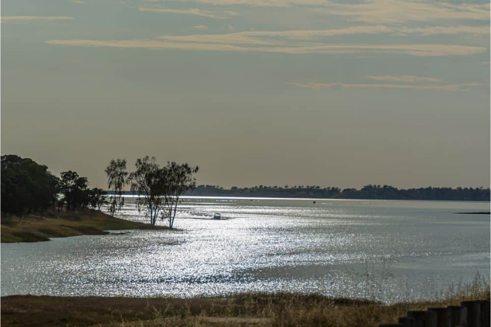 A fishing boat rounds a tree-studded point at dusk on Lake Camanche.