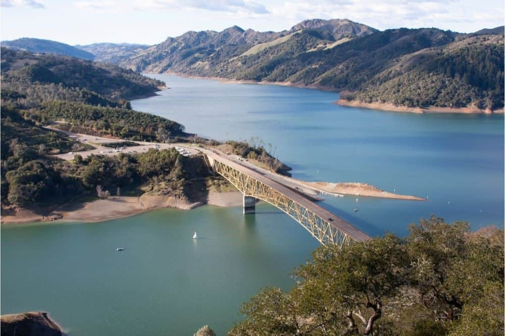 Scenic view of a bridge crossing Lake Sonoma, a popular fishing lake for bass and other species.