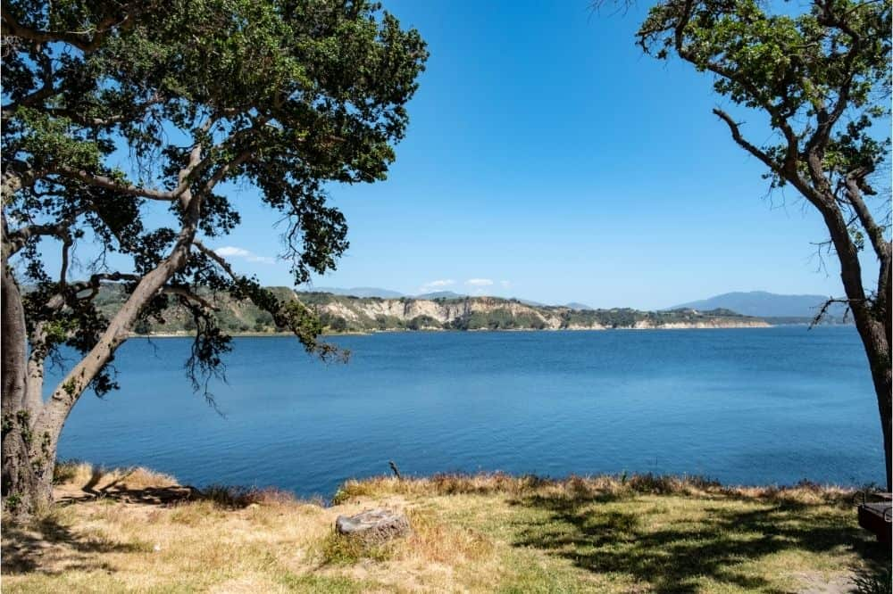 Scenic view of Cachuma Lake, a great fishing lake near Santa Barbara for bass, trout and other species.