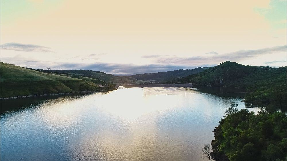 Lake Nacimiento at sunset, when fishing for bass and other game fish is likely to be great.
