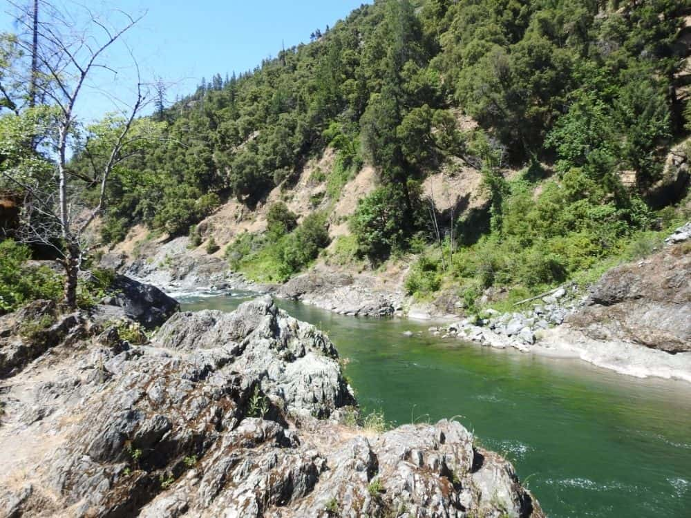 Scenic view of the pretty Trinity River, known for steelhead, salmon and trout fishing.