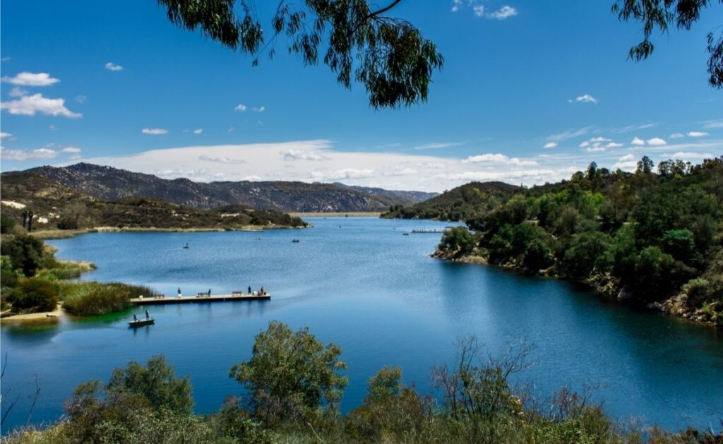 Scenic view of fishing docks and boats at Dixon Lake.