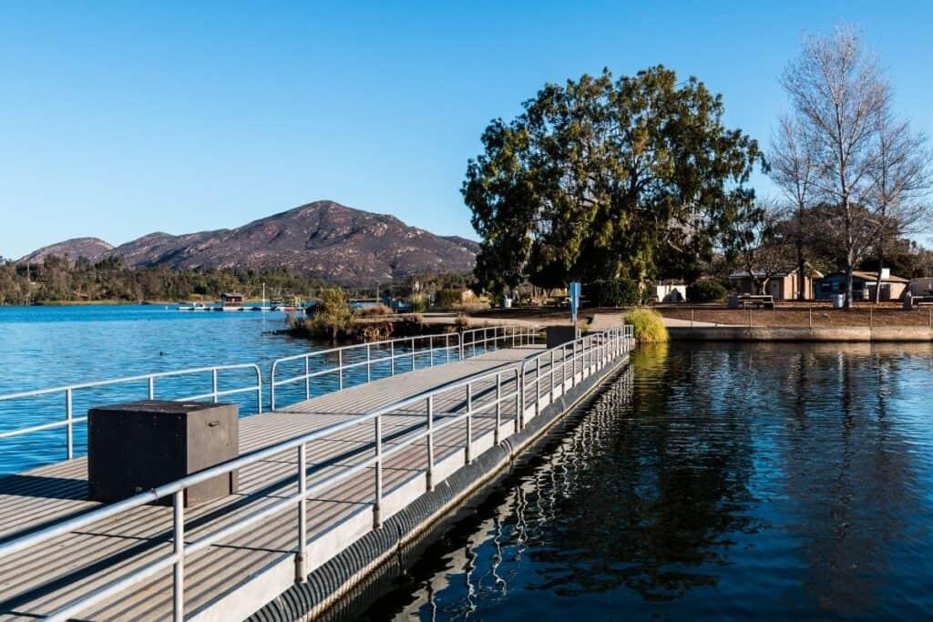 Empty fishing dock at Lake Murray near San Diego.