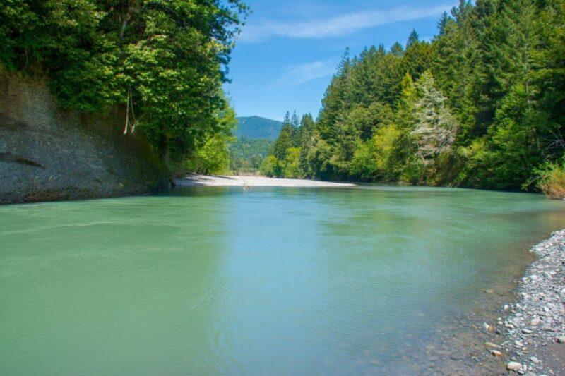 The Van Duzen River runs 'steelhead green' in Northern California.