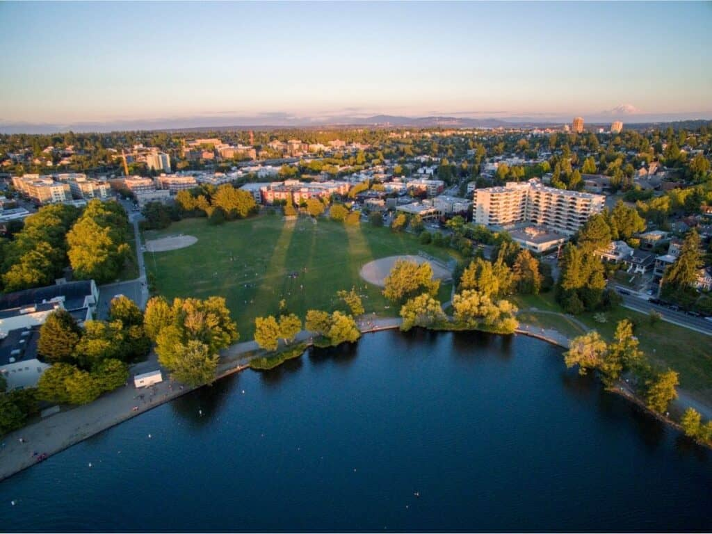 Aerial photo of Green Lake Park, Seattle.