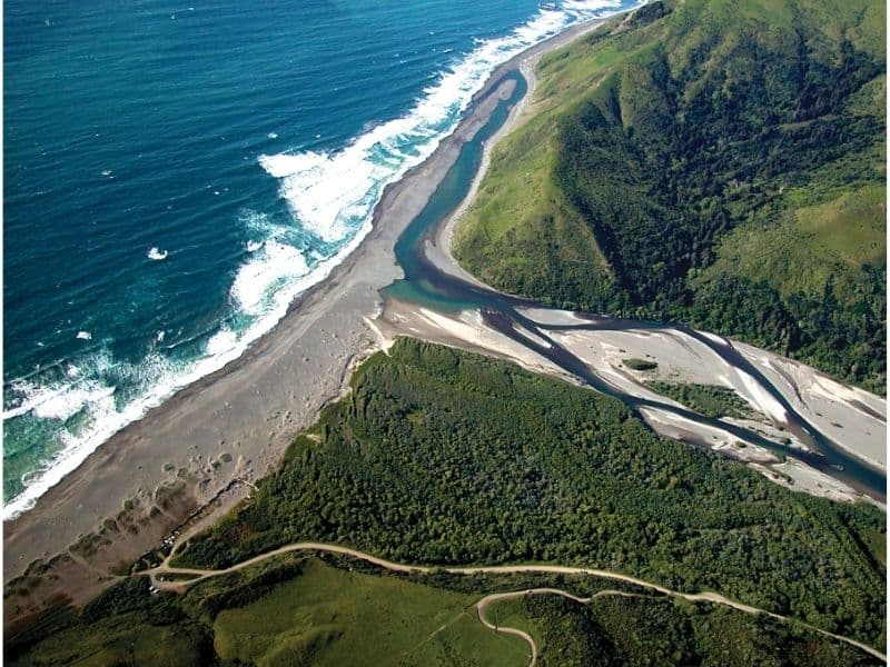 Aerial photo of the mouth of the Mattole River.